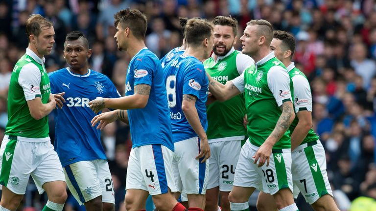Ryan Jack was sent off for Rangers after the incident with Hibs' Anthony Stokes