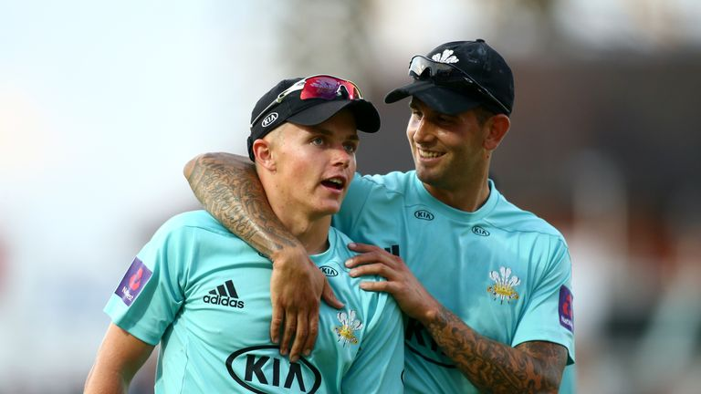Sam Curran (left) took 4-13 as Surrey won to eliminate Gloucestershire