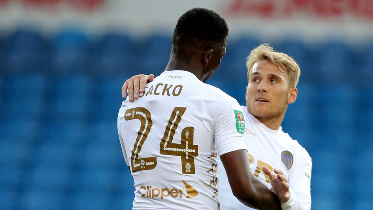 Leeds United's Samu Saiz (right) celebrates his goal with Hadi Sacko