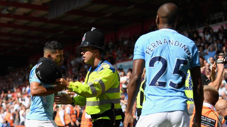 Sergio Aguero was involved in an altercation with police and stewards