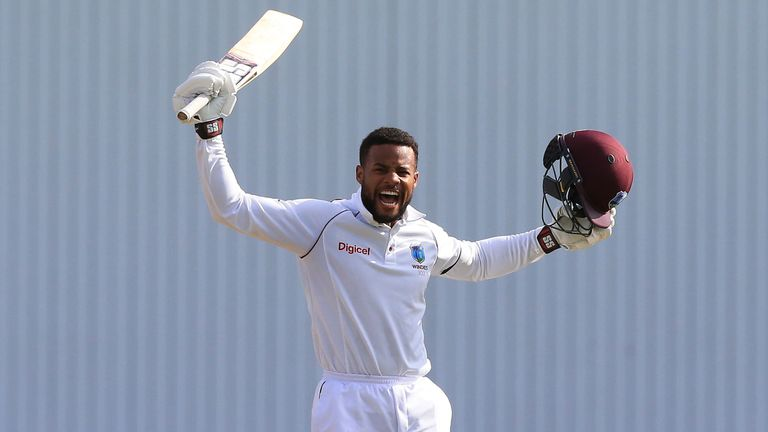 Hope celebrates his century, which came from 159 deliveries