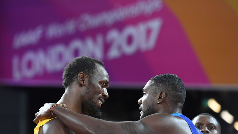 Gatlin beat Usain Bolt to win gold at the 100m world championships in London this summer