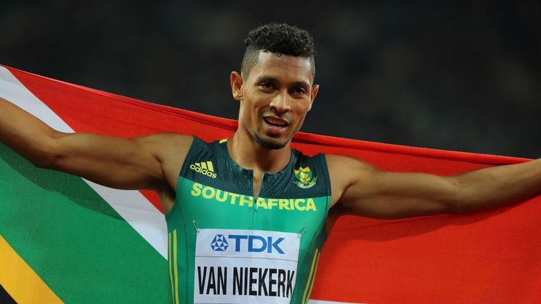 Van Niekerk celebrates his success in the 400 metres final at the World Championships in London