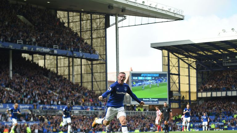 Wayne Rooney scored on his Everton return following a summer move from Manchester United