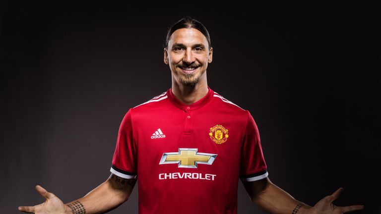 Zlatan Ibrahimovic poses after re-signing with Manchester United