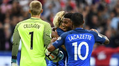 Thomas Lemar netted twice as France stormed to victory