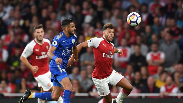 Alex Oxlade-Chamberlain in action during the Premier League match between Arsenal and Leicester City at the Emirates Stadium