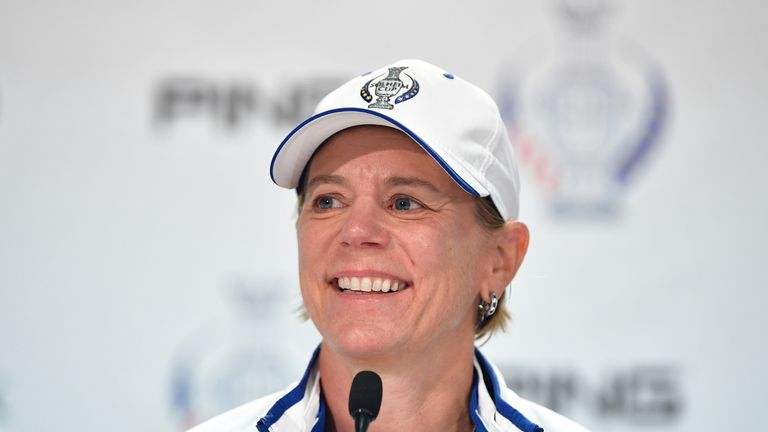 Annika Sorenstam during a press conference for The Solheim Cup at the Des Moines Country Club