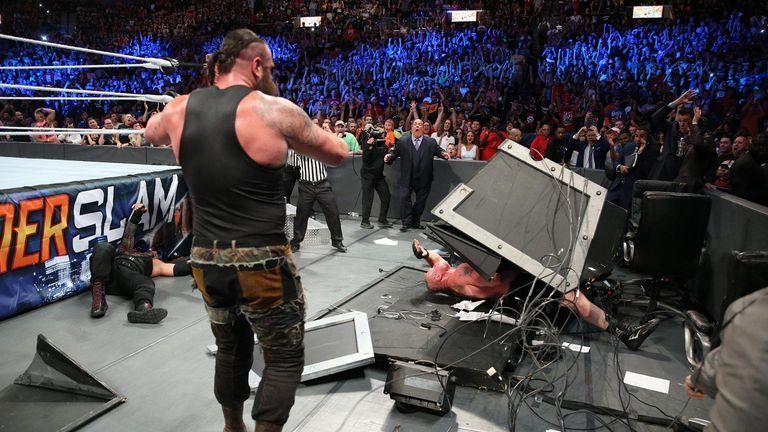Strowman dominated Lesnar before he had to leave the arena on a stretcher.