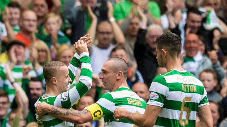 05/08/17 LADBROKES PREMIERSHIP. CELTIC v HEARTS (4-1). CELTIC PARK - GLASGOW. Celtic's Leigh Griffiths (left) celebrates after opening the scoring