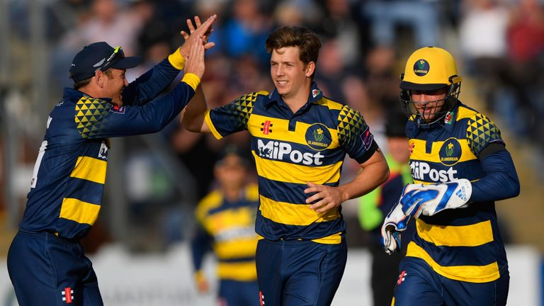 CARDIFF, WALES - AUGUST 23:  Glamorgan bowler Craig Meschede celebrates with team mates after dismissing Leicestershire batsman Colin Ackerman (not picture