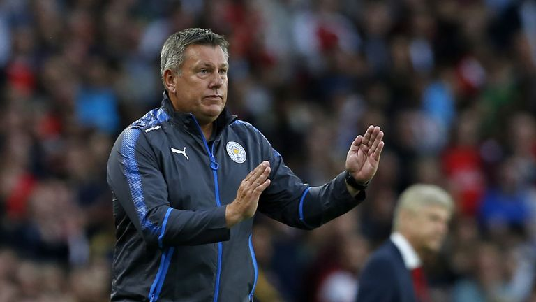 Leicester City's English manager Craig Shakespeare gestures on the touchline during the English Premier League football match between Arsenal and Leicester