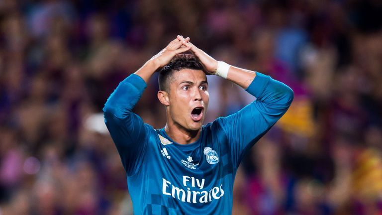 BARCELONA, SPAIN - AUGUST 13: Cristiano Ronaldo of Real Madrid CF reacts as he is shown a red card during the Supercopa de Espana Supercopa Final 1st Leg m