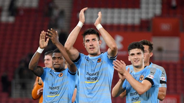Danny Batth celebrates victory with his team mates