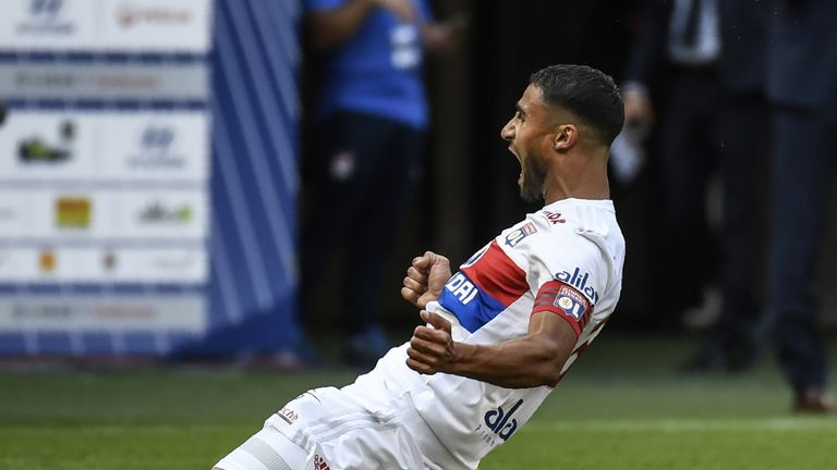 Lyon's French midfielder Nabil Fekir celebrates after scoring a goal during the L1 football match Olympique Lyonnais (OL) vs FC Girondins de Bordeaux (FCGB