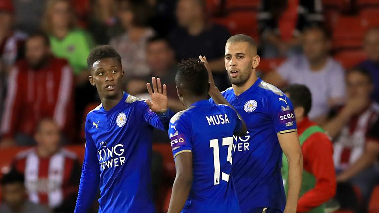 Demarai Gray celebrates scoring Leicester City's first goal of the game with team mate Ahmed Musa during the Carabao Cup 2nd rd tie v Sheffield United