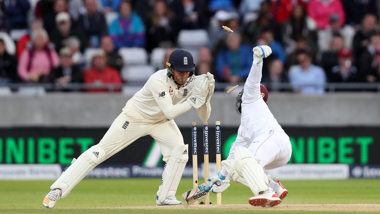 West Indies' Jermaine Blackwood is stumped by England's Jonny Bairstow during day three of the First Investec Test match at Edgbaston, Birmingham