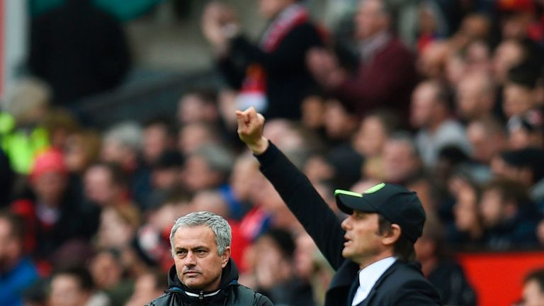Chelsea's Italian head coach Antonio Conte (R) gestures on the touchline as Manchester United's Portuguese manager Jose Mourinho looks on