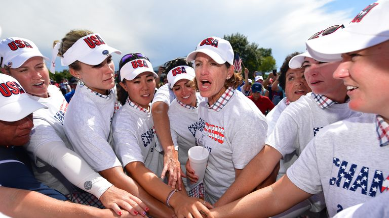 WEST DES MOINES, IA - AUGUST 20:  Juli Inkster, Captain of Team USA leads her team's celebrateion during the final day singles matches of The Solheim Cup a