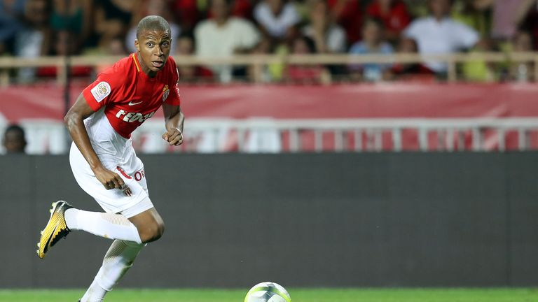 Kylian Mbappe in action during the Ligue 1 match against Toulouse on August 4, 2017