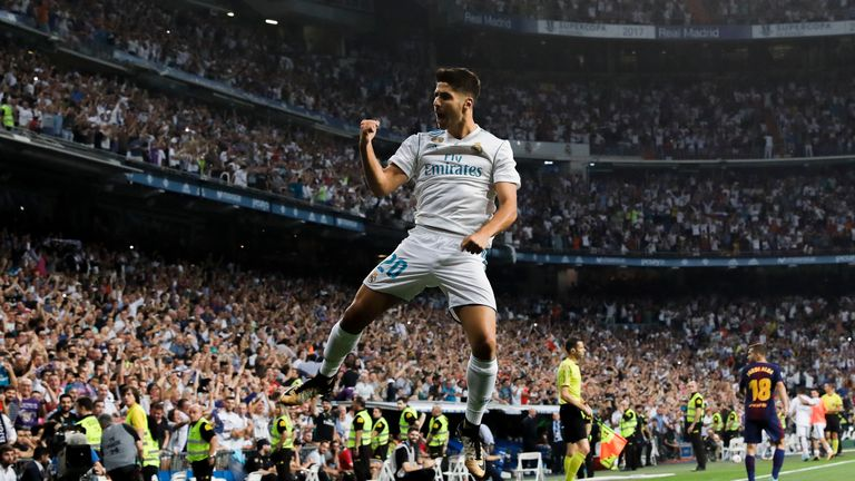 Marco Asensio celebrates after opening the scoring for Real Madrid
