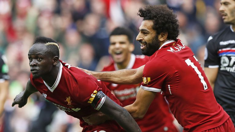 Sadio Mane celebrates scoring the only goal of the game at Anfield