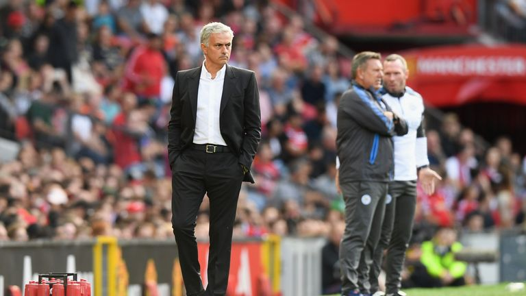 Jose Mourinho during the Premier League match against Leicester City at Old Trafford