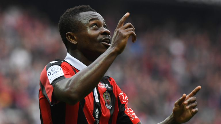 Nice's Ivorian midfielder Jean Michael Seri  celebrates after scoring a goal during the French L1 football match OGC Nice vs AS Nancy-Lorraine at the Allia