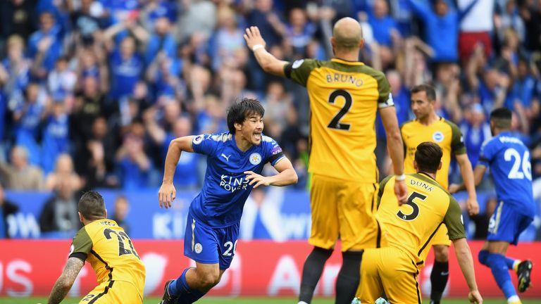 Shinji Okazaki celebrates his early first half goal against Brighton