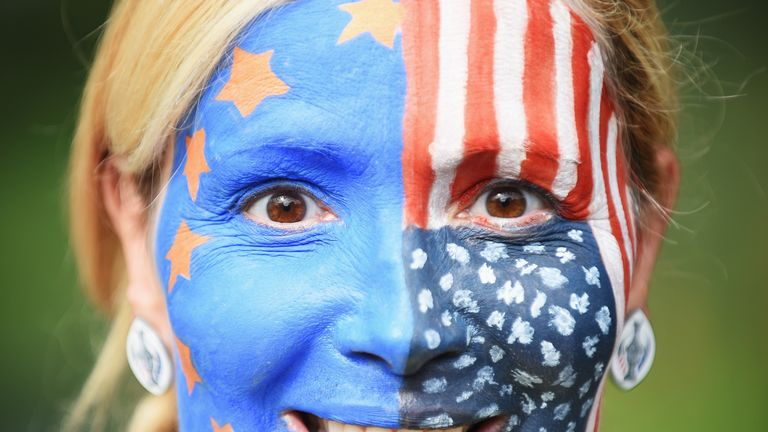 ST LEON-ROT, GERMANY - SEPTEMBER 20:  A face painted golf fan looks on during the singles matches of The Solheim Cup at St Leon-Rot Golf Club on September