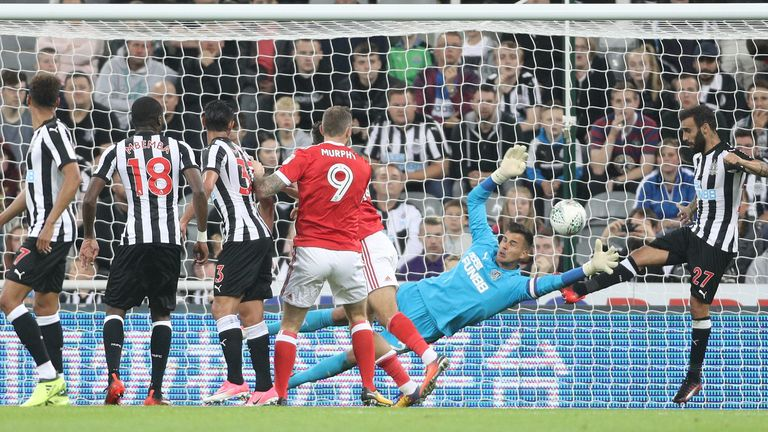 Nottingham Forest's Tyler Walker (obscured) scores his side's third goal of the game during the Carabao Cup, Second Round match at Newcastle United