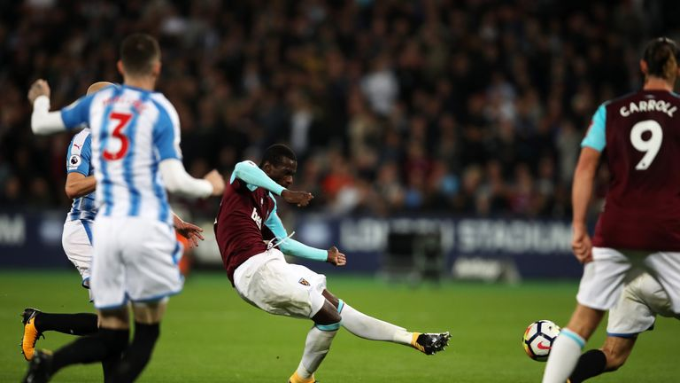Pedro Obiang sees his shot take two deflections before going in to give West Ham the lead
