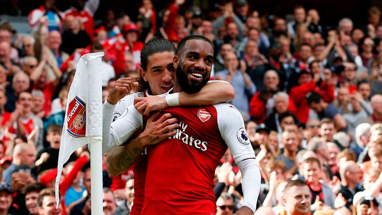 Alexandre Lacazette celebrates after his goal against Bournemouth