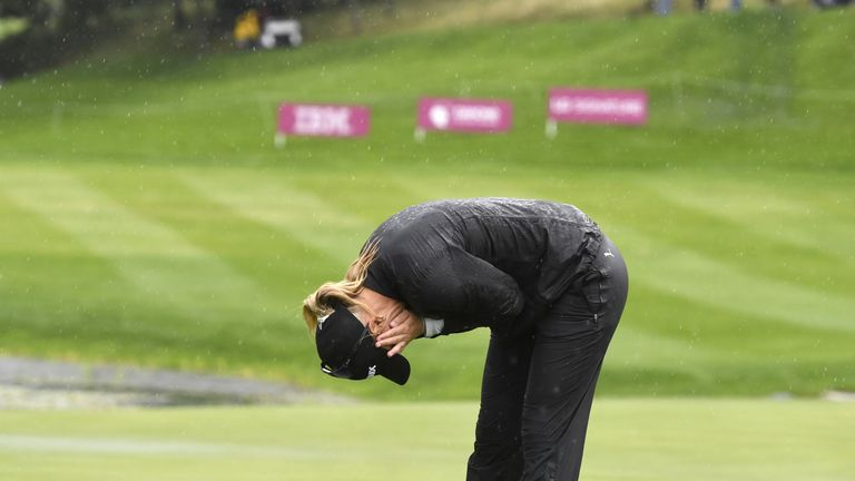 Anna Nordqvist celebrates winning the Evian Championship