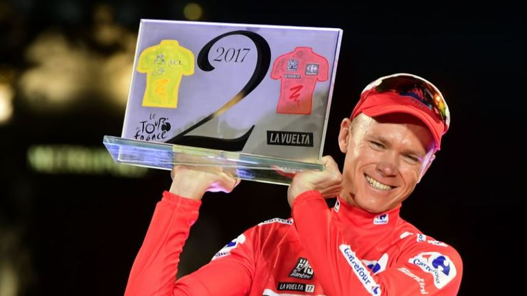 Froome celebrates his Vuelta victory in September