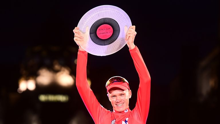 Froome celebrates victory in the Vuelta a Espana in September