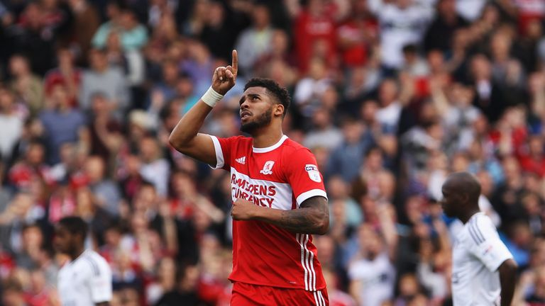 Cyrus Christie celebrates his late equaliser for Middlesbrough against Fulham in September