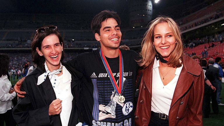 David Wagner (centre) pictured after the UEFA Cup final victory over Roy Hodgson's Inter Milan in 1997