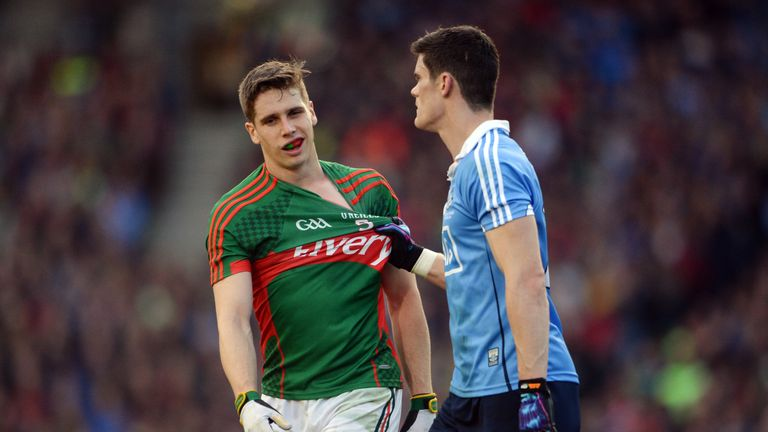 Diarmuid Connolly  and Lee Keegan tussle during the 2016 All-Ireland final