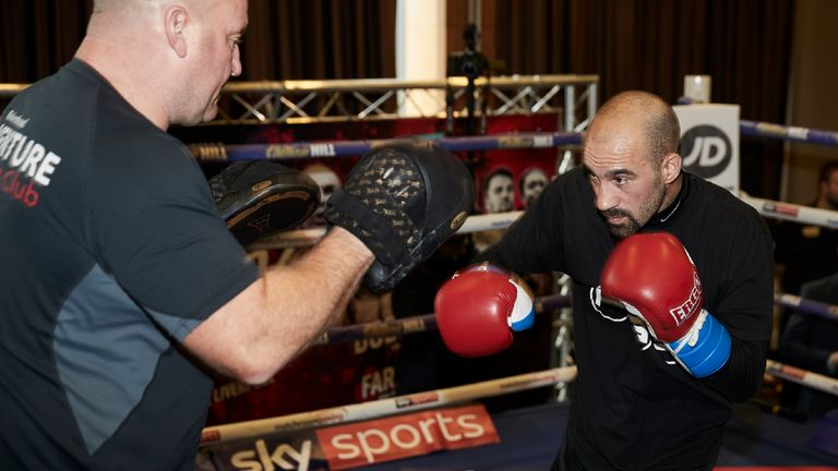 Sean 'Masher' Dodd in action at Monday's public workout