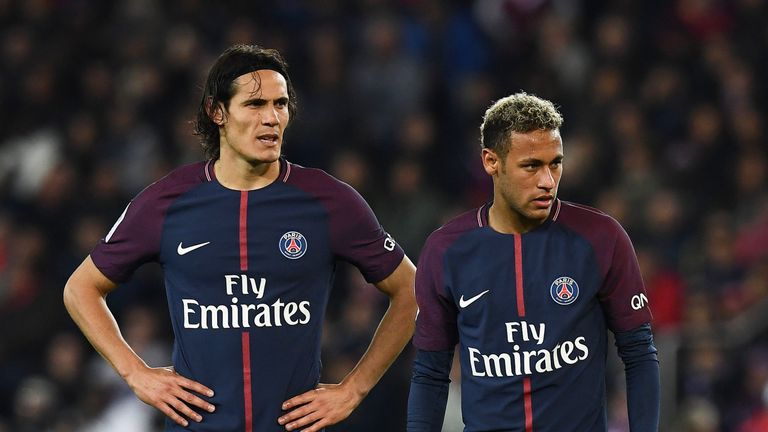 Neymar says stories of a frosty relationship with Unai Emery and Edinson Cavani (left) are 'false'