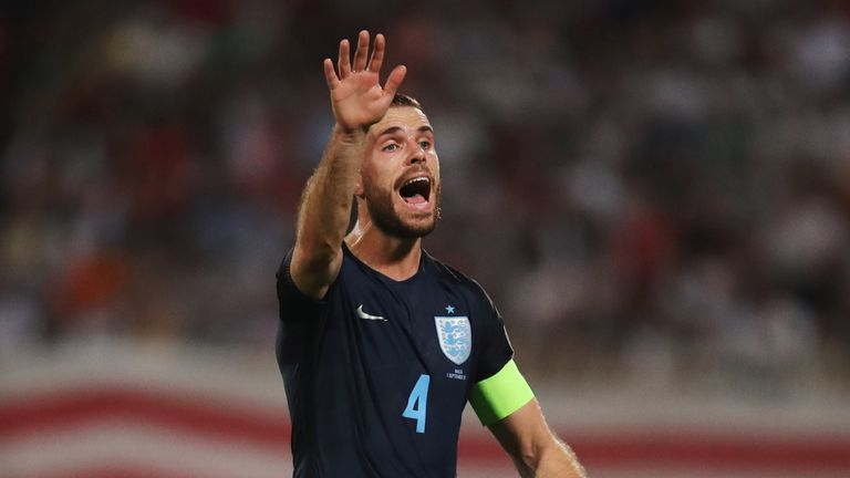 Jordan Henderson will lead England out at Wembley on Monday