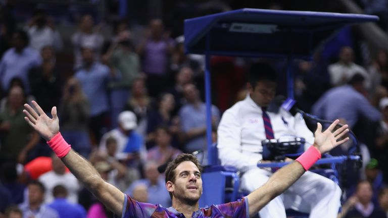 Juan Martin del Potro beat Roger Federer to reach the last four  at the US Open