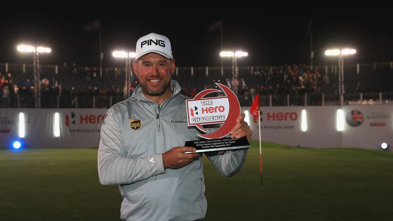 Westwood poses with the trophy after winning the Hero Challenge prior to the start of the tournament