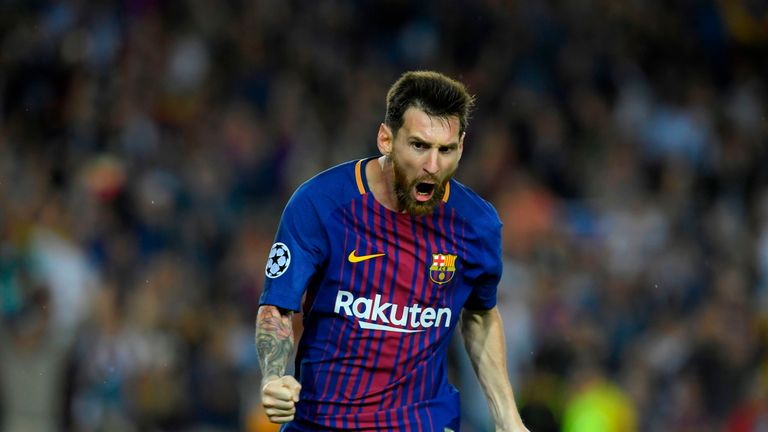 Lionel Messi celebrates after opening the scoring against Juventus