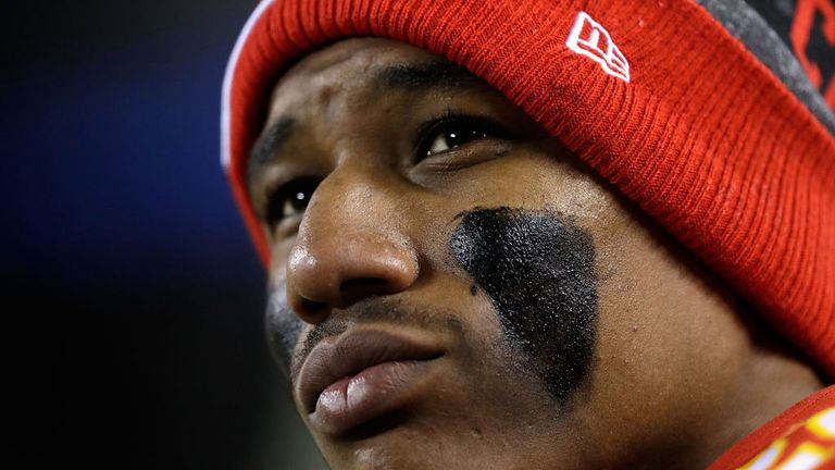 Marcus Peters sits for national anthem prior to Chiefs-Patriots opener