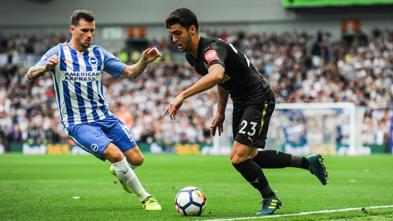 Mikel Merino is closed down by Pascal Gross at the Amex