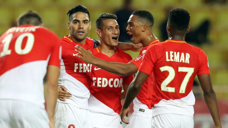 Radamel Falcao (L) celebrates scoring for Monaco