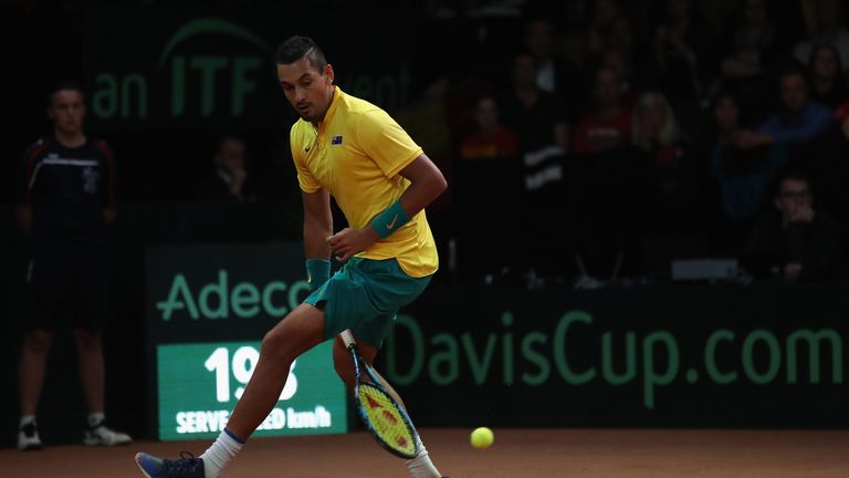 Kyrgios was forced to come from behind before eventually levelling the Davis Cup semi-final with Belgium