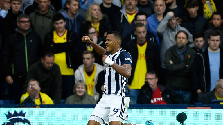 Salomon Rondon  celebrates scoring the opening goal at The Hawthorns